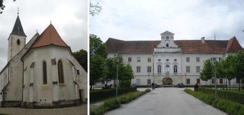 Balra: Mártonhely gótikus temploma. Jobbra: a muraszombati Szapáry-kastély