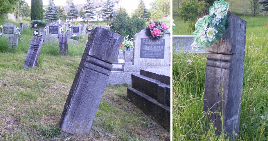 Fejfák a szilicei temetőben