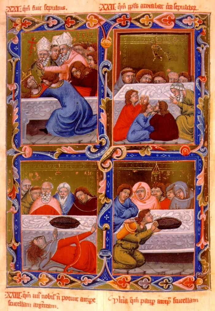 A kapzsi ispán és szegény vitéz esete Szent László ezüst csészéjével (Forrás: Magyar Anjou-legendárium)