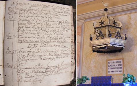 Balra: Abaújnádasd anyakönyve bizonyítja, hogy a gyülekezet eredetileg színmagyar volt. Jobbra: magyar feliratok a református templomban