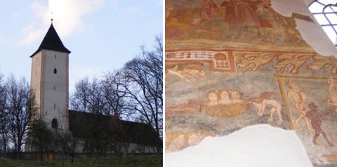 A petőszinyei templom – jobbra: jelenetek a pokolból