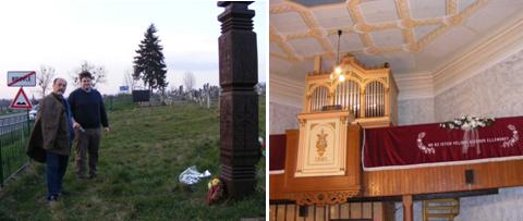 Magyarbőd – balra az 1848-49-es emlékkopjafa, jobbra a református templom belseje