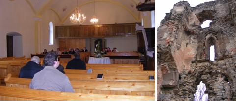 Balra: a református istentiszteleten – Jobbra: a gótikus vár