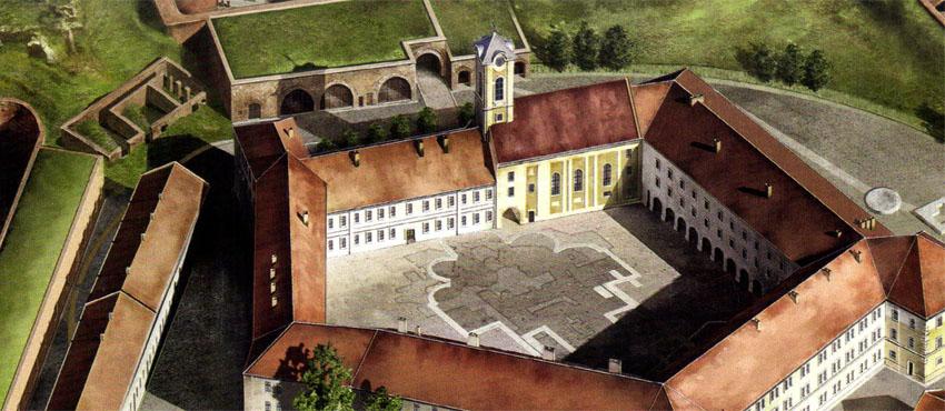 A középkori székesegyház alapfalainak helye a váradi várban (Forrás: http://valasz.hu/kultura/visszavettuk-tortenelmunk-egyik-legjelentosebb-emlekhelyet-124566)
