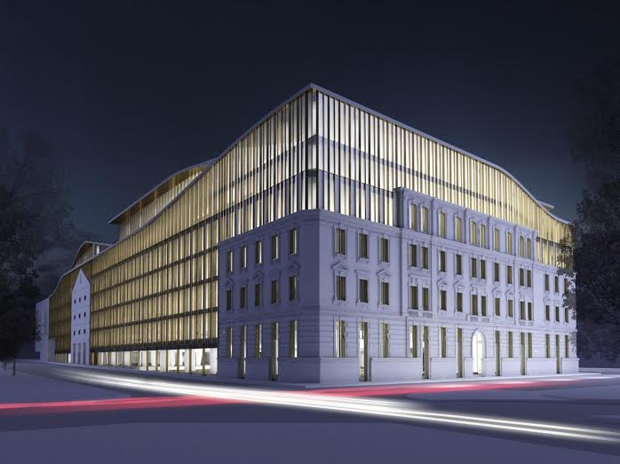 A tervezett modern épület megbontja a városképet, a laktanyából megőrzött részletek inkább giccsnek tekinthetők (Kép: T2a Építész Iroda)