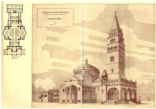 A templom eredeti tervrajza a pénzhiány miatt soha meg nem épített toronnyal