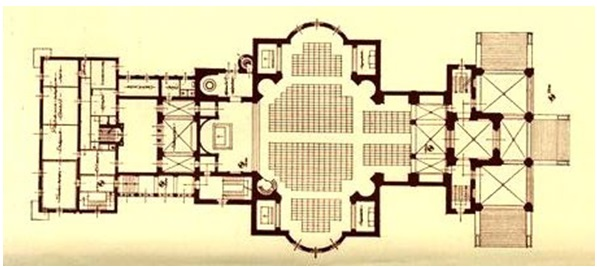 A Regnum Marianum-templom alaprajza