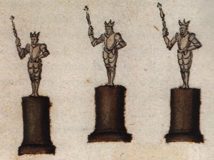 Talán hasonlóak voltak az 1370-benfelállított váradi Szent István, Szent Imre és Szent László szobrok (Forrás: Emblemblatt für Rudolf II.: VIRES ACQVIRIT EVNDO, 1595 körül, 126. hátsó oldalra utólagosan beragasztva, Bécs, Osztrák Nemzeti Könyvtár, Handschriften- und Inkunabelsammlung, Cod. 9423)