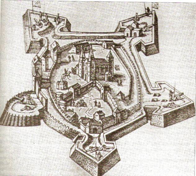 Szent László lovasszobra Georg Houfnagel metszetén 1599-ből