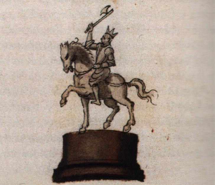 Szent László lovasszobrát állítólagosan ábrázoló tusrajz (Forrás: Emblemblatt für Rudolf II.: VIRES ACQVIRIT EVNDO, 1595 körül, 126. hátsó oldalra utólagosan beragasztva, Bécs, Osztrák Nemzeti Könyvtár, Handschriften- und Inkunabelsammlung, Cod. 9423)