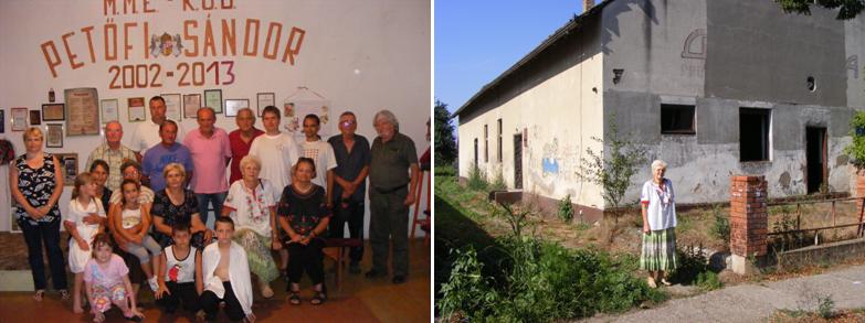 Balra: közös kép a nyéki Petőfi-egyesület tagjaival. Jobbra: egy herkócai asszony az egykori Julián-iskola épületével