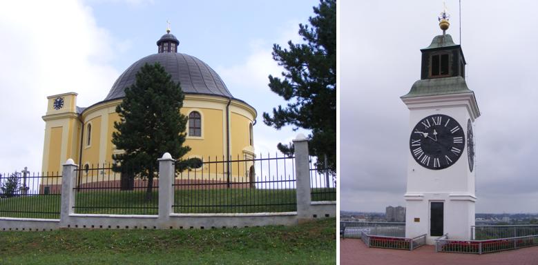 A karlócai Békekápolna (b) és a péterváradi híres óratorony (j)