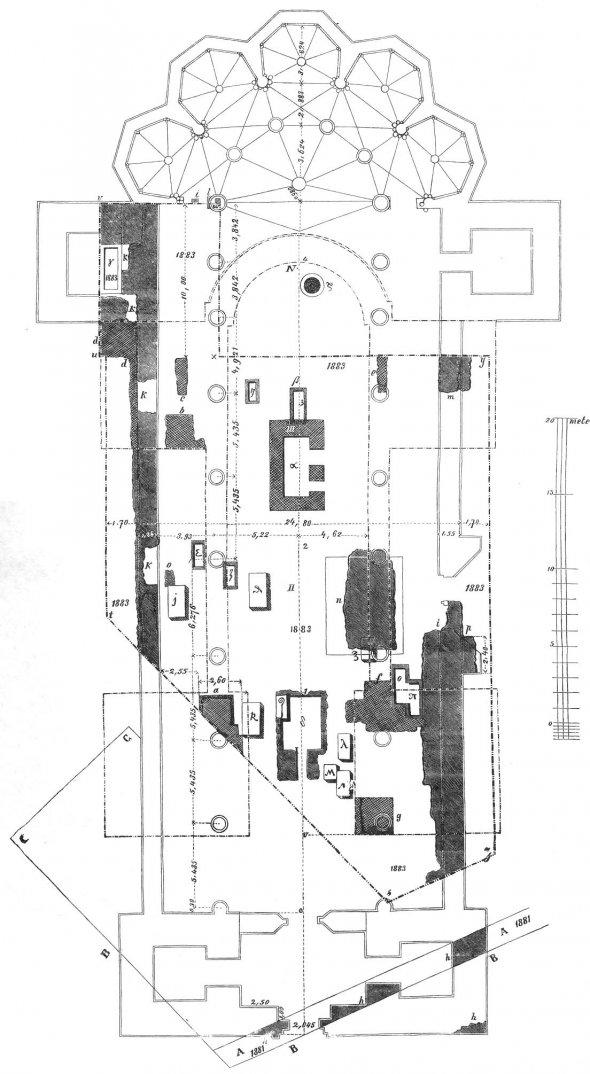 A váradi székesegyház alaprajza (Forrás: archeologia.hu, Buzás Gergely-Kovács Olivér: Szent László: nem volt kétszer temetés)